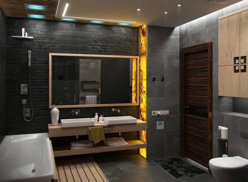 donkere kleuren badkamer